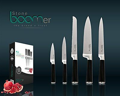 6 Pc Stainless Steel Chef Knives block Set 5 Knives Acrylic Stand Kitchen Black