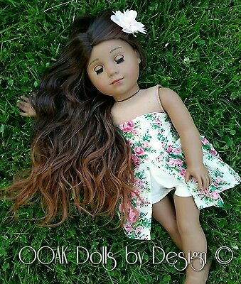 Ooak Custom 10-11 doll wig for American Girl dolls in Hawaiian Dreams