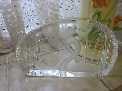 Mats Jonasson Flat Lead Crystal Glass Paperweight Etched Swan in Bamboo  Signed