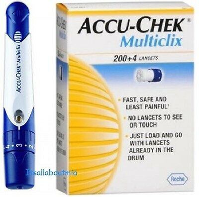 NEW Blue/White Accu Chek Multiclix Lancing Device & Box 104 Sealed Lancets