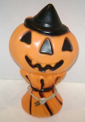 Vintage Halloween Jack O Lantern Pumpking Scarecrow Blow Mold Light Works 13 1/2