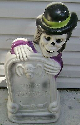 "Vintage Happy Halloween Tombstone Skeleton Blow Mold Light Works 27"" Used Nice"