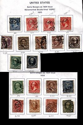 Set of 19 USA Stamps SC# 264-274 279-284 Postage Collection Used Hinged on page