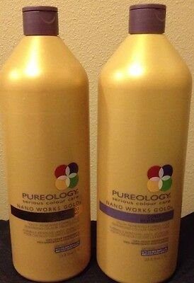 Pureology Nanoworks Gold Set Shampoo and Conditioner One Liter (33.8 oz)