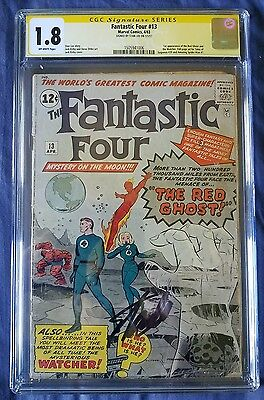 Silver Age Marvel Comic; The Fantastic Four #13 Signed Stan Lee Cgc 1.8