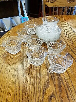 Vintage Fostoria American punch bowl cups and saucers,, 8 each