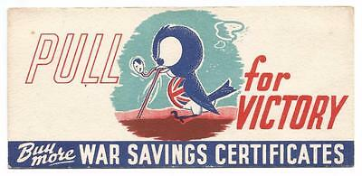 P005 - Ww 2 - Great Britain - Pulling For Victory War Savings Certificate Card