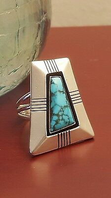VTG 4-Sided Stone Mountain Turquoise Sterling Ring Johnny Mike Begay Signed SZ 8