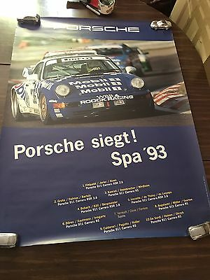 1993 Porsche 911 Carrera RSR 3.8 Spa Victory Showroom Advertising Poster RARE!!