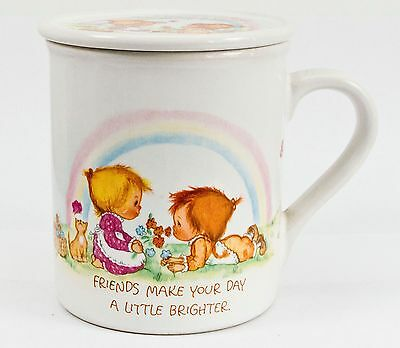 1983 Precious Moments Friends Make Day Brighter Heart Lighter Coffee Mug Mates