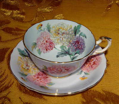 VINTAGE PARAGON TEA CUP & SAUCER CHRYSANTHEMUM on PALE TURQUOISE