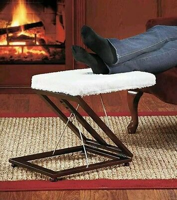 Adjustable Wooden Sherpa Lined Foot Stool 3 Levels Portable NEW--Wood Foot Rest