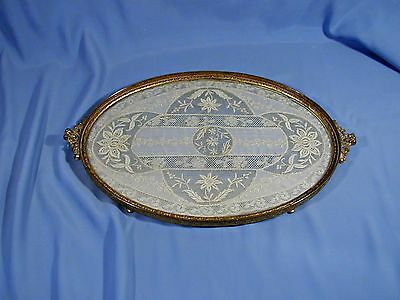 Antique French Lace Encased In Glass Brass Framed Oval Vanity/perfume Tray