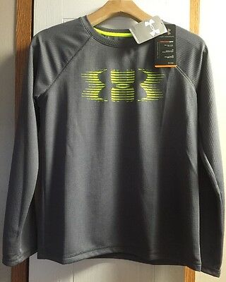 *NWT*Under Armour Boys Long Sleeve Shirt Size Youth Large YLG Gray Loose