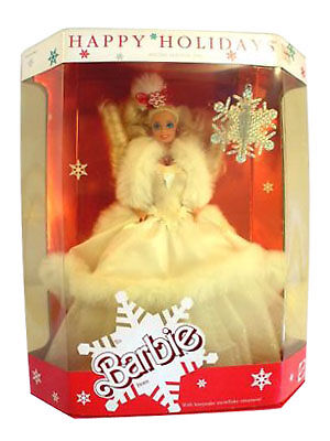 Mattel - Barbie Doll - 1989 Happy Holidays Barbie With Snowflake Ornament New