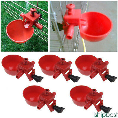 5pc AUTOMATIC POULTRY CHICKEN WATER CUP DRINKER DRINKING PLASTIC CUP SYSTEM BOWL
