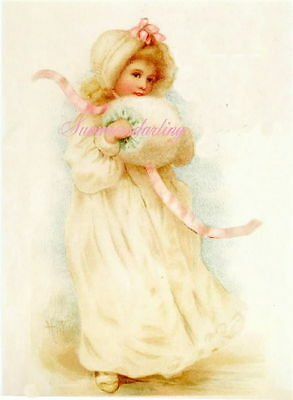Victorian Girl With Muff*Fabric Block(1)*Sale*Stock Up For Christmas Projects