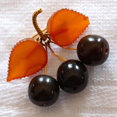 Natural Baltic Amber and Cherry Amber 14K Gold Plated Antique Brooch Signed