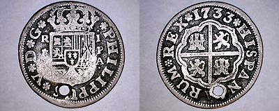 1733-PA Spanish 1 Real World Silver Coin - Spain - Philip V - Seville - Holed