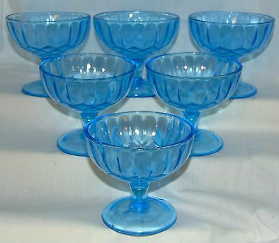 """6 US Glass AUNT POLLY BLUE *3 1/4"""" FOOTED SHERBETS*"""