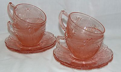 4 Jeannette CHERRY BLOSSOM PINK *CUPS & SAUCERS*