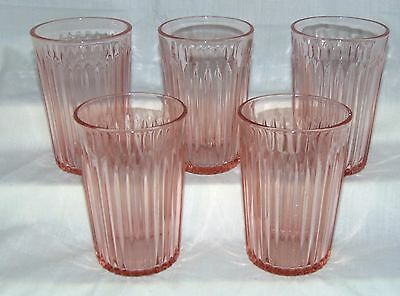 """5 Anchor Hocking LACE EDGE/OLD COLONY PINK *4 1/4"""" 9 oz FLAT WATER TUMBLERS *"""