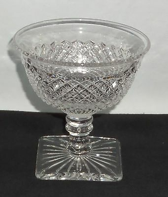 """Westmoreland ENGLISH HOBNAIL CRYSTAL *3 3/4"""" SQUARE FOOTED SHERBET*EH83"""