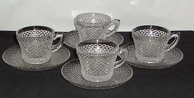 4 Westmoreland ENGLISH HOBNAIL CRYSTAL *CUPS & SAUCERS*