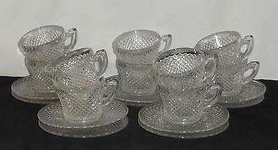 10 Westmoreland ENGLISH HOBNAIL CRYSTAL *CUPS & SAUCERS*
