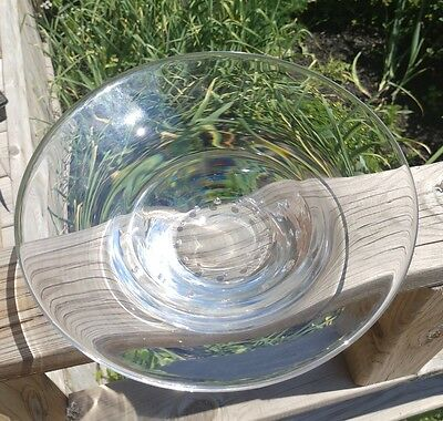 Vintage Crystal Bowl Candy Dish Clear w Bubble Design. Heavy.