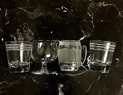 Lot 4 Shot Glasses Jiggers Vintage Glass