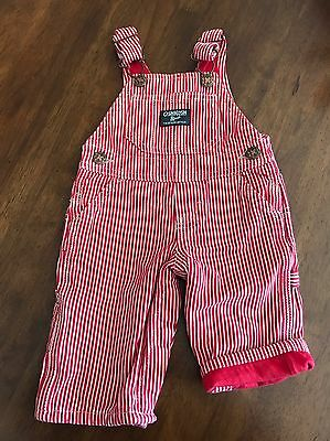 OSHKOSH B'GOSH boy 3 mos red striped RR Engineer bib overalls pants VTG USA 80s