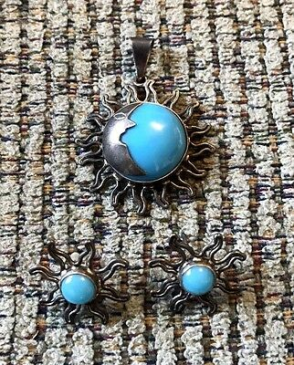 Vintage Sterling Silver Turquoise Eclipse Moon & Sun Pendant & Earring Set 925