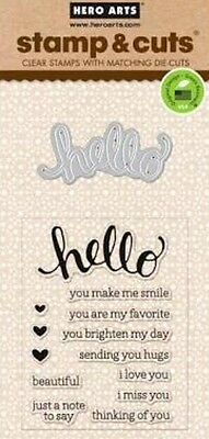 HERO ARTS - Stamp & Cuts - HELLO DC151 - cutting dies & clear cling stamps