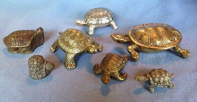 vintage lot metal Turtle figures paperweight lidded boxes brass and other metals