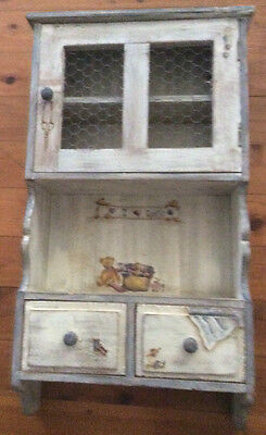 Handpainted Rustic Storage Cupboard Collectable Sewing Quilting Home Decor