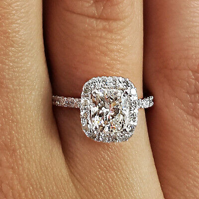 1.70 Ct Cushion Cut D/si1 Diamond Solitaire Engagement Ring 14K White Gold