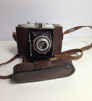 Vintage 1950s AGFA Apotar Folding Bellows Camera Leather Case Germany Isolette