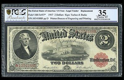 Fr. 57* $2 1917 Legal Tender PCGS Choice VF 35. Replacement.