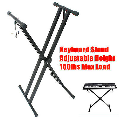 Pro Height Adjustable Folding X Type Double-Braced Music Piano Keyboard Stand AU