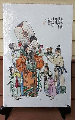 Antique Chinese hand-painted porcelain plaque marked artisit name Qing Dynasty