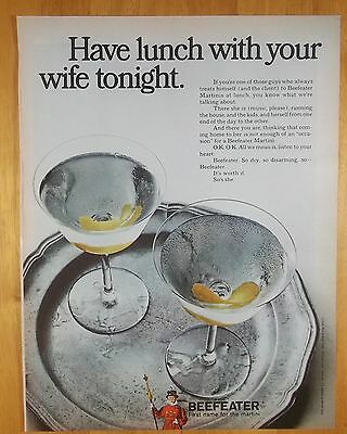 "1968 Beefeater Gin ""Have Lunch With Your Wife Tonight"" Vintage Magazine Print Ad"