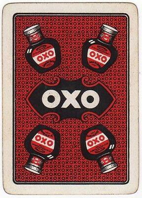 Playing Cards 1 Single Swap - Old Antique Wide OXO Advertising Jar + background