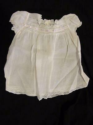 Vintage WHITE BABY or DOLL DRESS Sheer Lace Ribbon