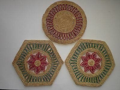 Vintage 3 Thin Straw Hot Pads: Pair w/ Flower, One w/ Circular Design