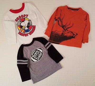 Lot of 3 Baby Toddler Boys Shirts Snoopy Elk Football 24- months