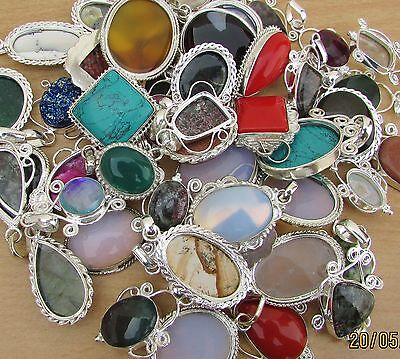 Turquoise & Mix Gemstone 925 Sterling Silver Wholesale Lot 10Pc Pendants Jewelry