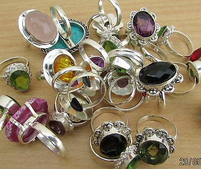 Amethyst & Mix Gemstone 925 Sterling Silver Wholesale Lot 10Pc Rings