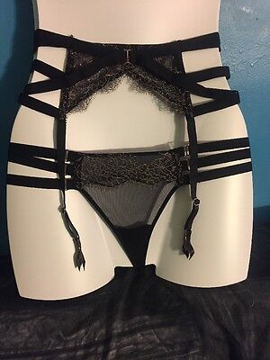 Victoria's Secret XS/S Garter And Panty Set Bling Very Collection Lace Mesh