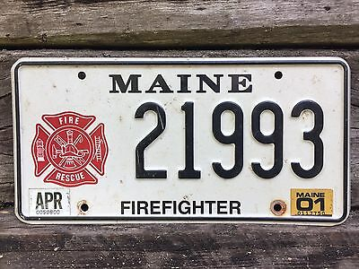 2001 Maine FIREFIGHTER Auto License Plate Number #21993